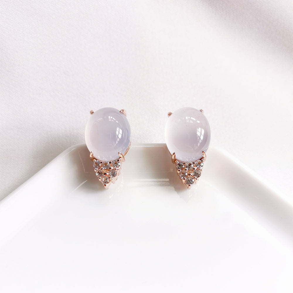 Astrid Chalcedony Oval White Topaz Statement Earrings - Rose Gold Plated