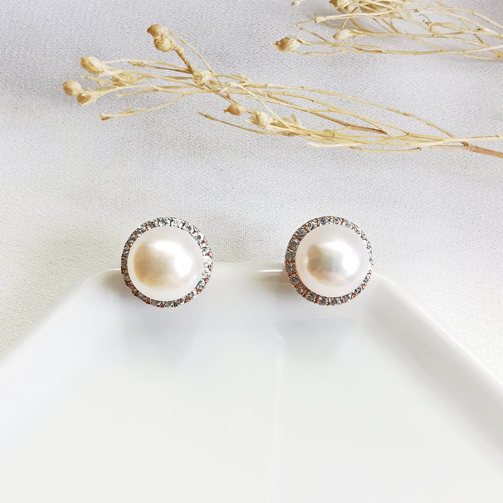Load image into Gallery viewer, Fresh Water Pearl Halo Rose Gold Stud Earrings