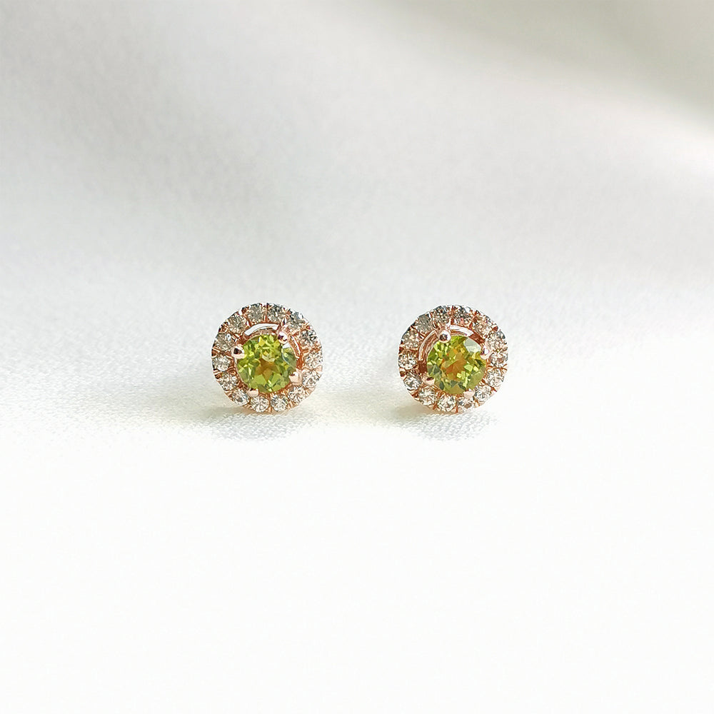 Load image into Gallery viewer, peridot petite round halo stud earrings
