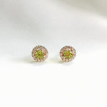 Sonia Peridot Halo Petite Stud Earrings - Rose Gold Plated