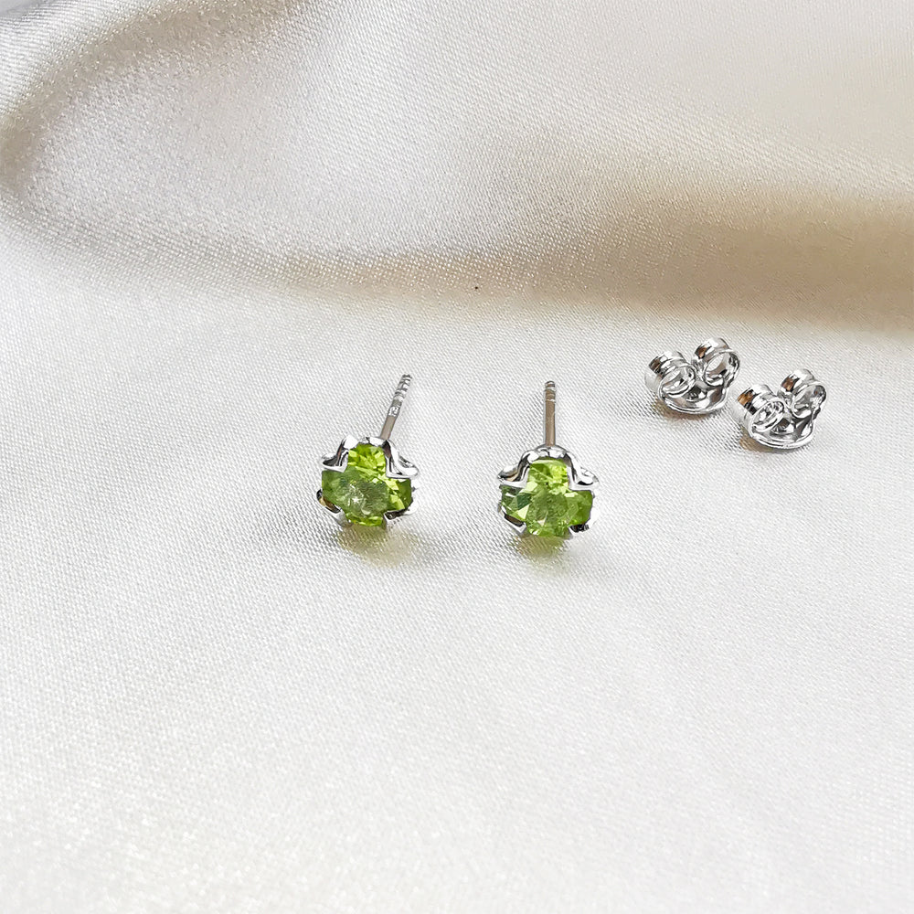Peridot Round Stud Earrings - Sterling Silver