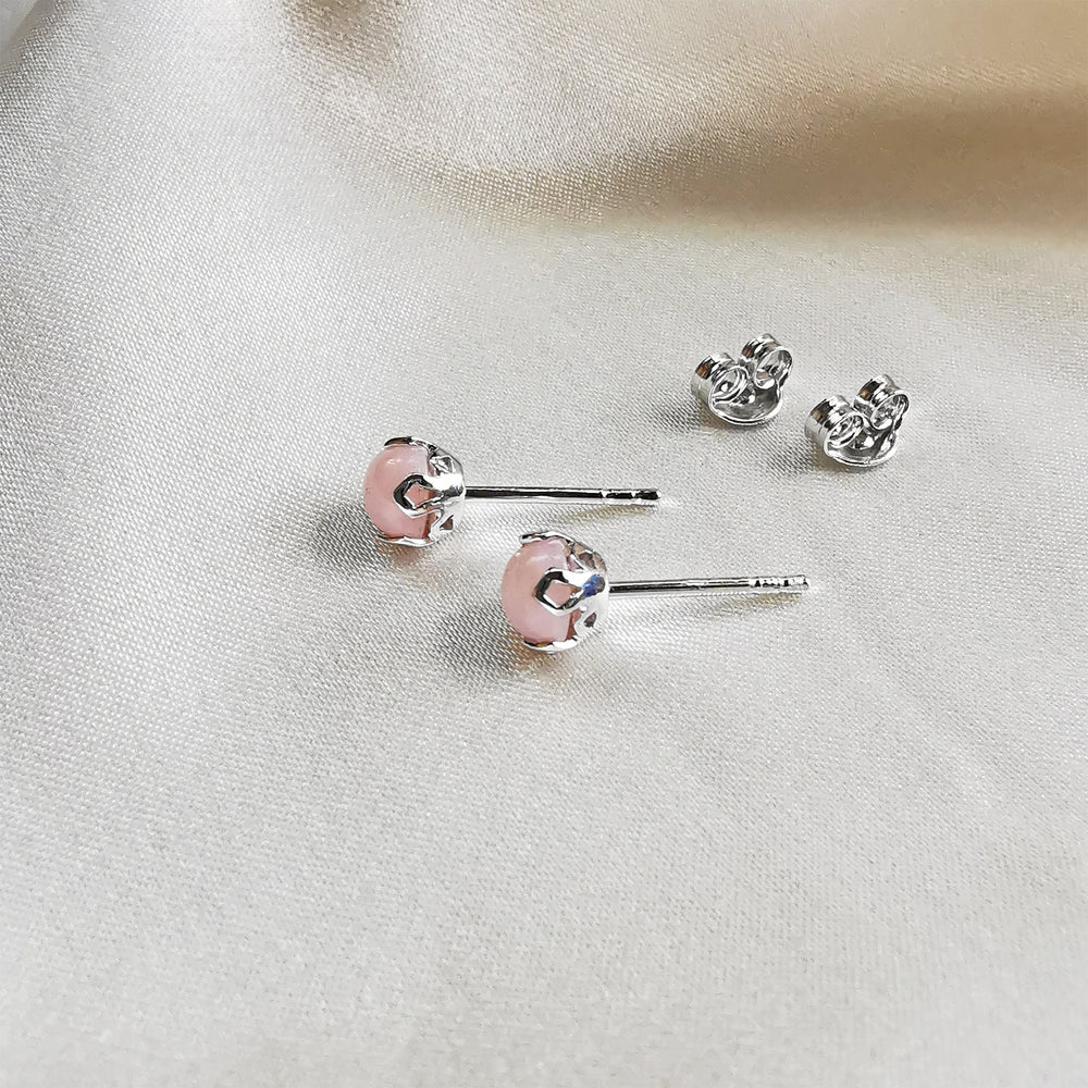 rhodium plated pink opal round stud earrings