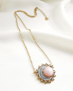 Pink opal sun moon birthstone necklace