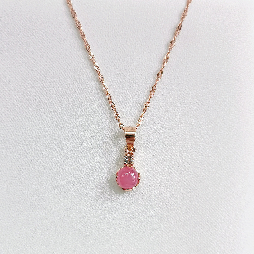Lux Pink Ruby Petite Round Cabochon Necklace - Rose Gold Plated