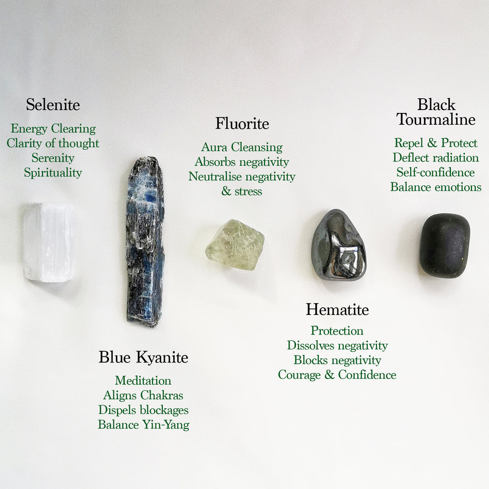 Load image into Gallery viewer, selenite kyanite fluorite hematite black tourmaline