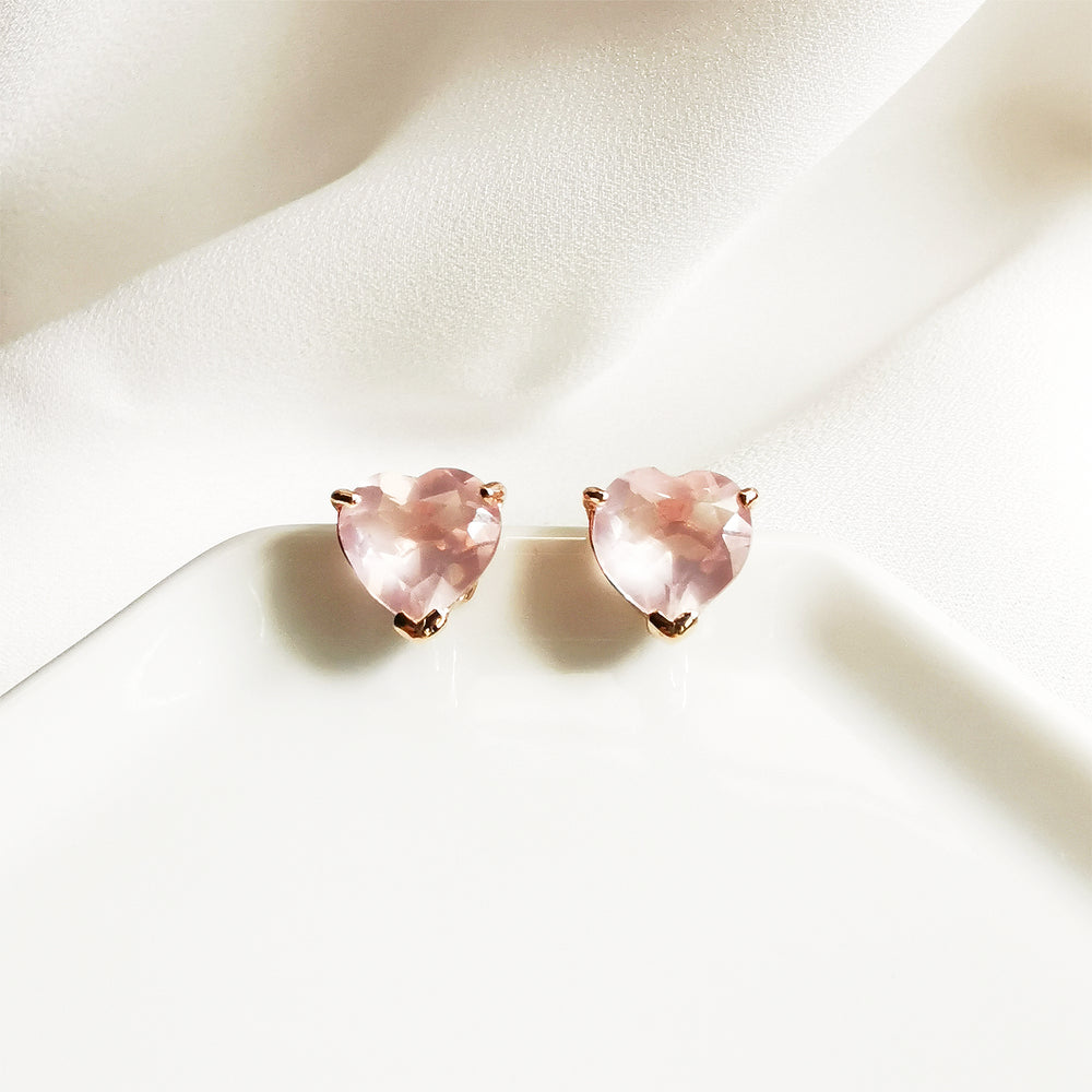 Flora Rose Quartz Heart Stud Earrings - Rose Gold Plated