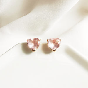 Load image into Gallery viewer, Flora Rose Quartz Heart Stud Earrings - Rose Gold Plated