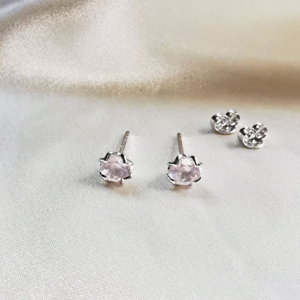 Rose Quartz Round Stud Earrings - Sterling Silver