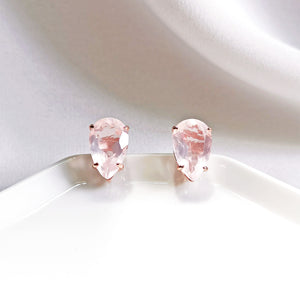 Load image into Gallery viewer, Yara Rose Quartz Pear Stud Earrings - Rose Gold Plated