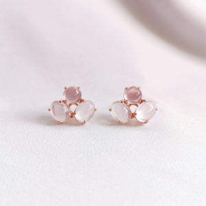 Load image into Gallery viewer, rose quartz trio stud earrings