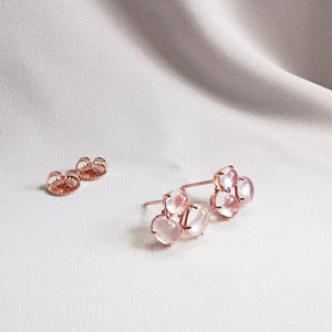 Load image into Gallery viewer, rose quartz stud trio earrings