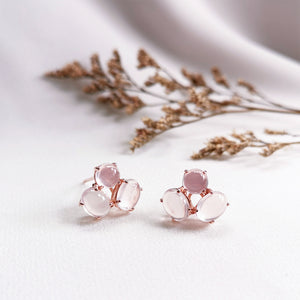 Load image into Gallery viewer, rose quartz trio rose gold stud earrings