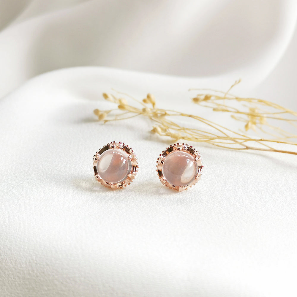 Eve Rose Quartz Round Cabochon Stud Earrings - Rose Gold Plated