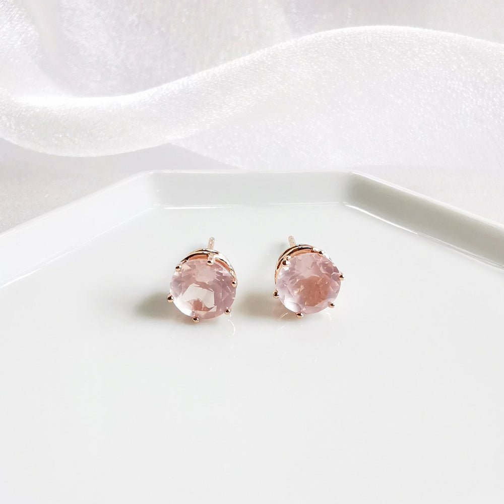 Kloe Rose Quartz Stud Earrings - Rose Gold Plated