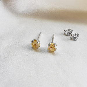 Rutilated Quartz Round Stud Earrings