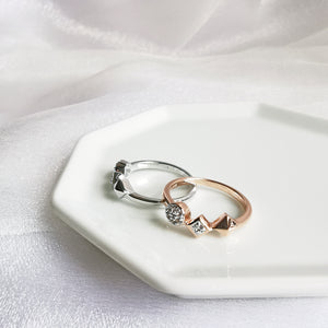 Load image into Gallery viewer, 14K Rose Gold or Rhodium Shapes Encrusted White Topaz Ring