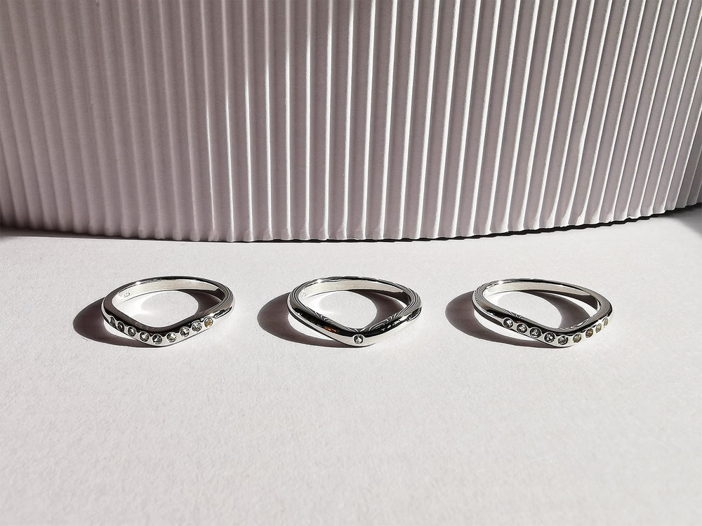 Contemporary Silver Stack Trio Ring
