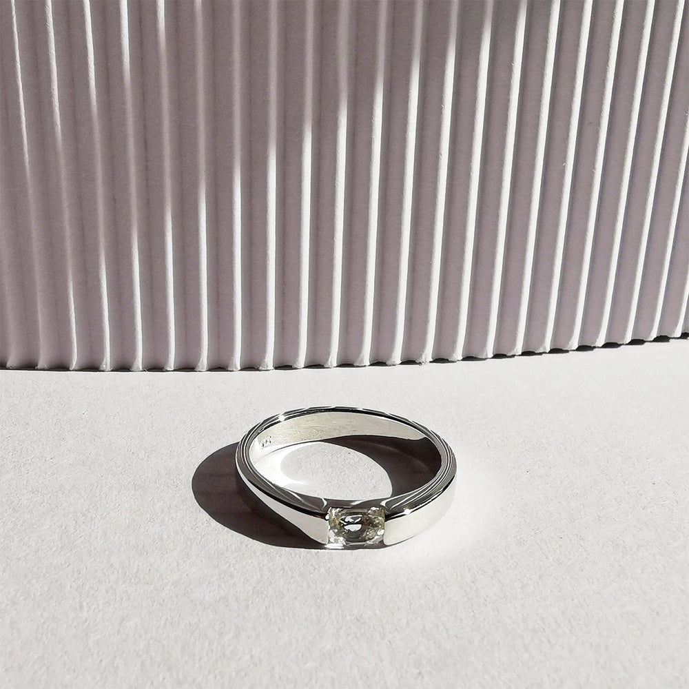 Elin White Topaz Oval Ring - Sterling Silver
