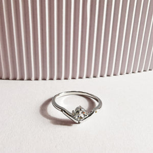Sterling Silver White Topaz V Ring