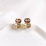 Delia Smokey Quartz & Green Amethyst Duo Oval Stud Earrings - Gold Plated