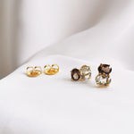 citrine & lemon quartz, smokey quartz & green amethyst stud earrings