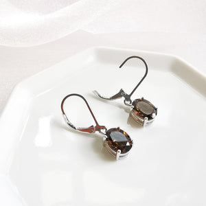 Alexa Smokey Quartz Oval Dangle Earrings