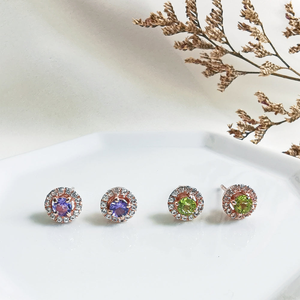 Load image into Gallery viewer, Tanzanite Peridot round halo stud earrings
