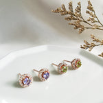 Tanzanite Peridot round halo stud earrings