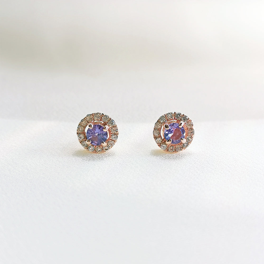 Sonia Tanzanite Halo Petite Stud Earrings - Rose Gold Plated