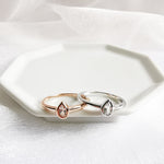 Bella White Topaz Pear Ring - Rose Gold or Rhodium Plated