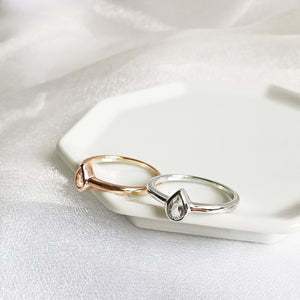 14K Rose Gold or Rhodium Pear Cut White Topaz Petite Ring
