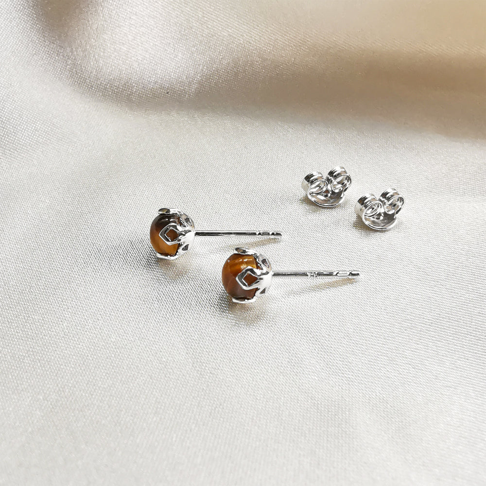 rhodium plated tiger's eye round stud earrings