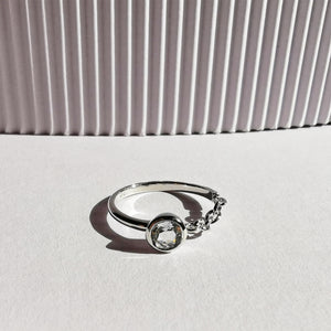 Contemporary Round Cut White Topaz Silver Chain Ring