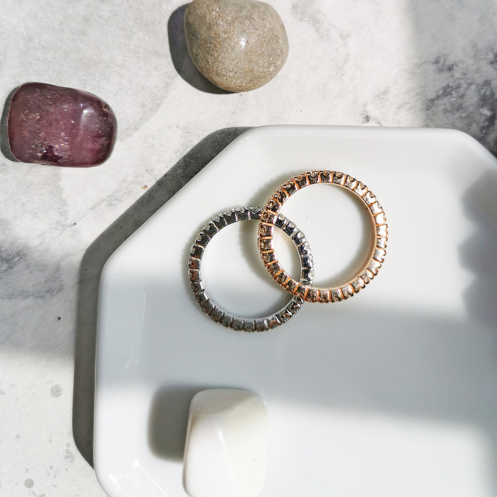 18K Rose-gold or Rhodium White Topaz Eternity Bands