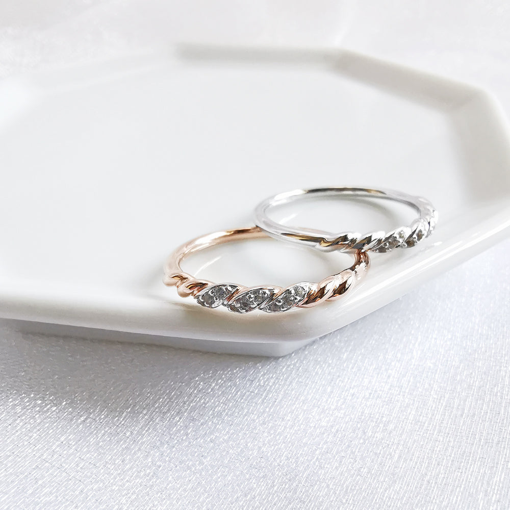 Brooke White Topaz Twist Rope Ring - Rose Gold or Rhodium Plated