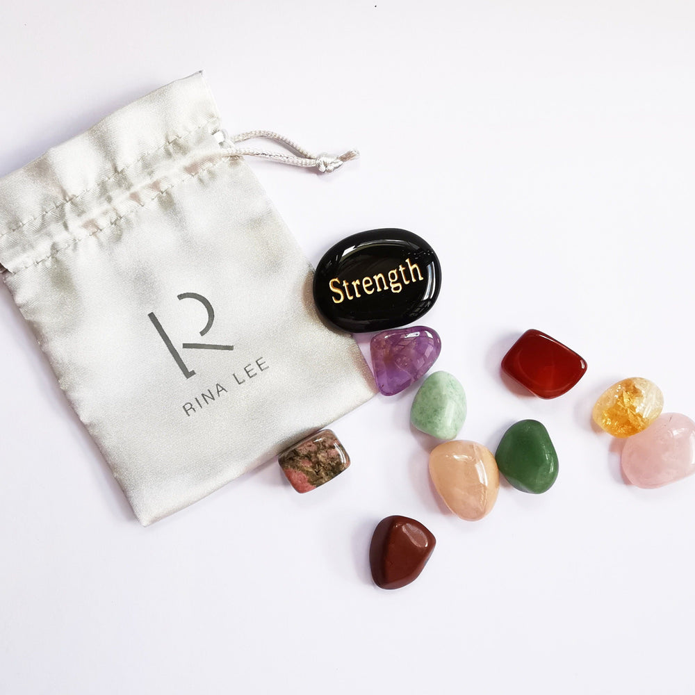 Ultimate Self-Love Crystal Kit - Set of 9 Healing Crystals & 1 Inspiration Word Crystal