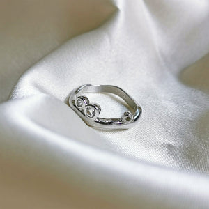Rhodium Plated White Topaz Wave Ring
