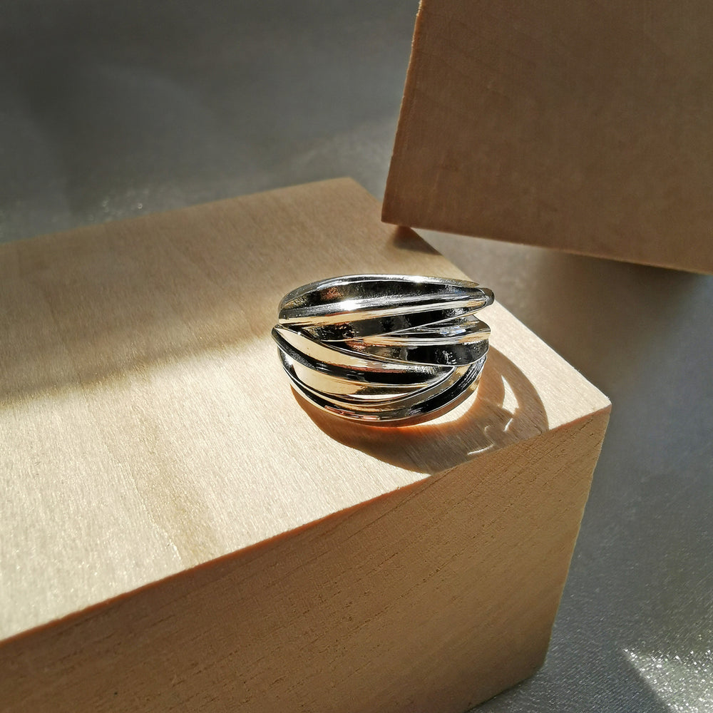 Interwoven lines 925 Sterling Silver Sage Ring