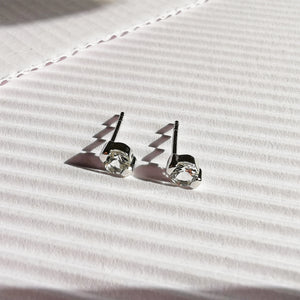 Nova Silver Round Topaz Bar Stud Earrings