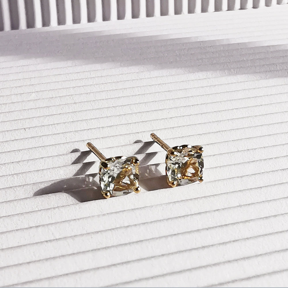 Phoebe White Topaz Cushion Stud Earrings - Gold Plated