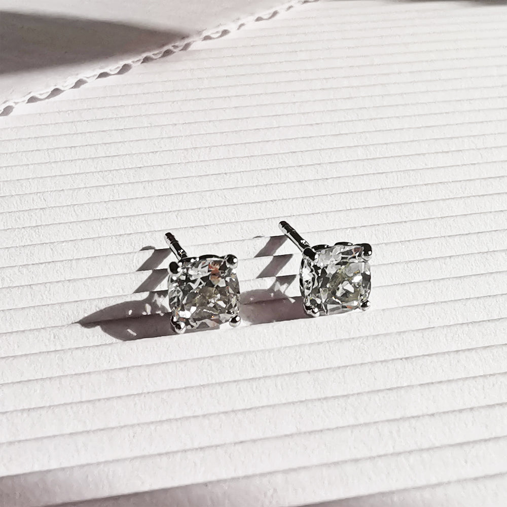 Phoebe White Topaz Cushion Stud Earrings - Sterling Silver