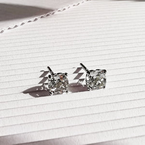 Load image into Gallery viewer, Phoebe Silver Cushion Cut Topaz Stud Earrings