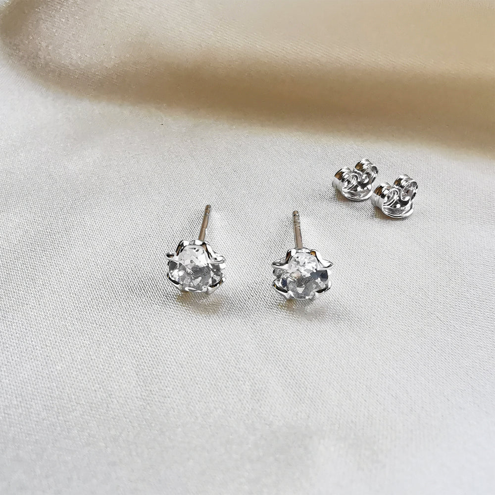 White Topaz Round Stud Earrings - Sterling Silver
