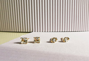 14K Gold Cushion Cut White Topaz Stud Earring