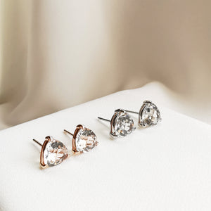 Load image into Gallery viewer, Margo White Topaz Trillion Stud Earrings - Silver & Rose Gold