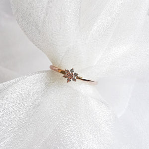 Load image into Gallery viewer, 14K Rose Gold White Topaz Flower Ring
