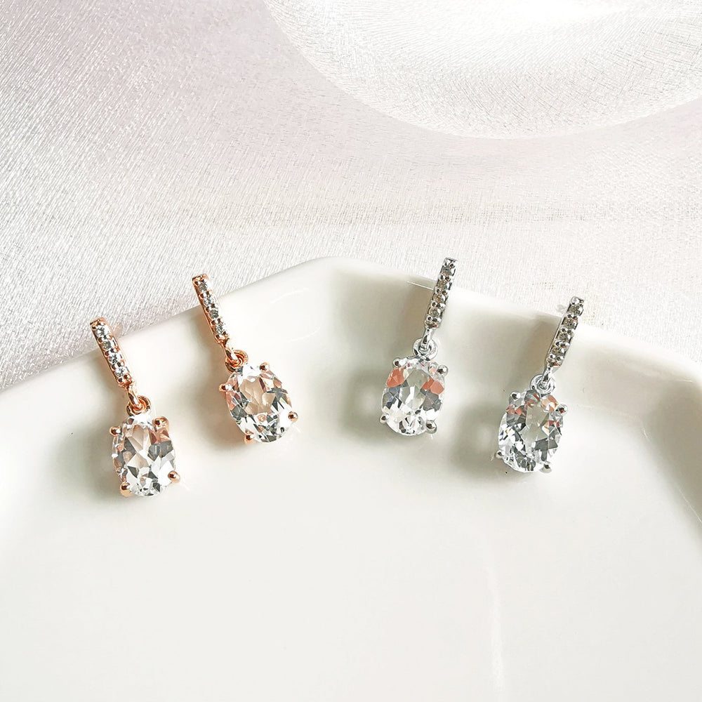 Kylie White Topaz Drop Earrings