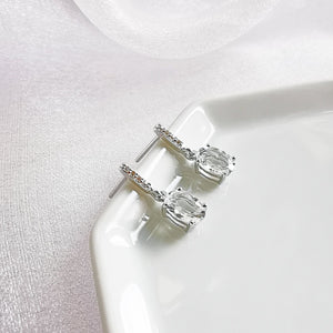 Rhodium Plated White Topaz Drop Earrings