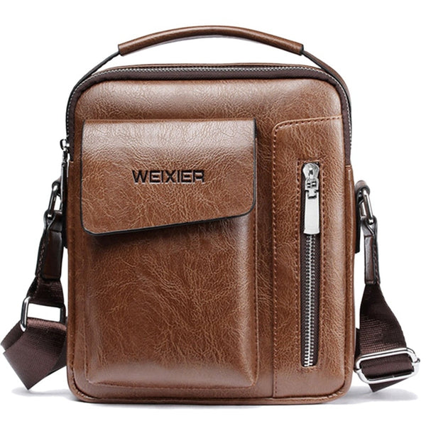 Weixier Vintage Messenger Bag Men Shoulder Bags Pu Leather Crossbody Bags For Men Bags Retro Zipper Man Sacs à main - JumieGee
