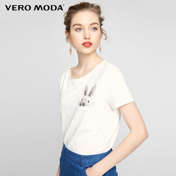 Vero Moda Rabbit pattern front pocket O-ring short sleeves T shirt |317301510 - JumieGee